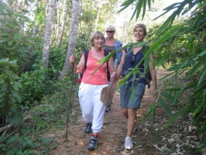 Therese, Lieve and Nici on jungle track
