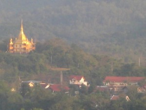 Golden Stupa in the mist, Luang Prabang
