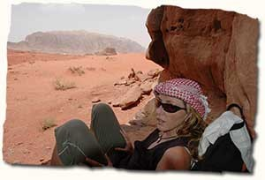 Julie waiting for Lawrence of Arabia, Wadi Rum desert, Jordan