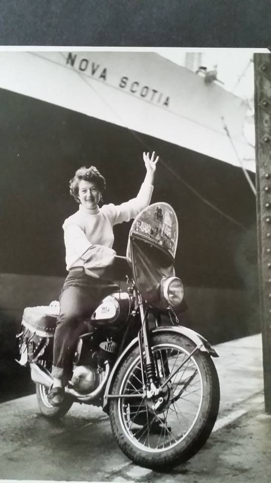 motor-bikes Peggy Iris Thomas author of A Ride in the Sun on her BSA