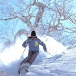 woman skiing japan